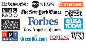 Media logos for BBC, New York Times, Forbes, NPR, USA Today, and other many major media that have covered Shel Horowitz